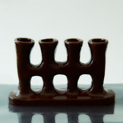 Four Stem Candle Holder in Brown