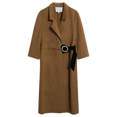 Dona Zhong D-Ring Wool Cashmere Coat in Camel