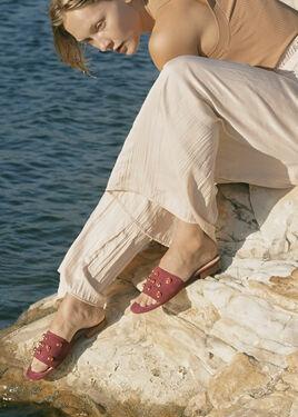 SAHARA Sandal : Cinnamon Suede in Carnelian Gemstone Grid