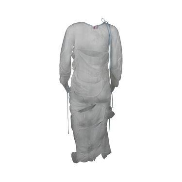 Yuhan Wang Ruched Lace Blue Ribbon Dress
