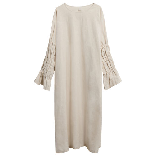 Linen Smock Dress in Taupe