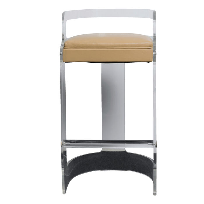 Pair of Clear Chairs with Tan Seats
