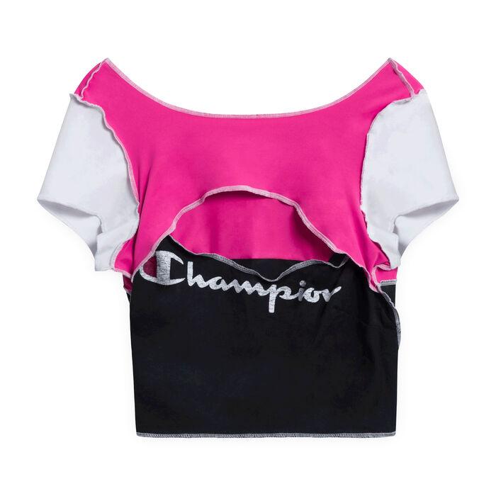 JJVintage Reworked Champion Short-Sleeve Crop top - Pink/Black