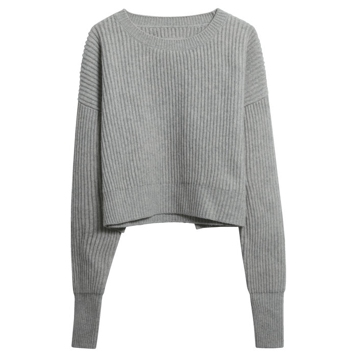 Re/Done Cropped Wool-Cashmere Ribbed Sweater in Heather Grey