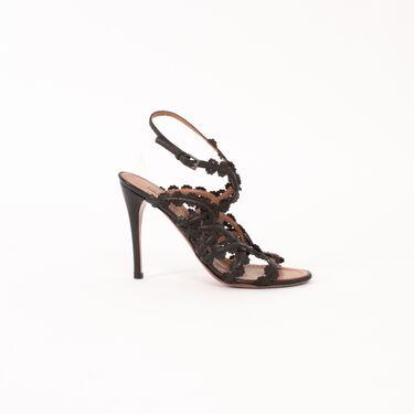 Alaia Floral Laser Cut Cage Heeled Sandals