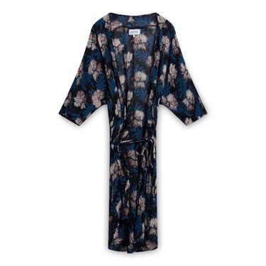 GANNI Georgette Wrap Kimono In Autumn Flower - Black