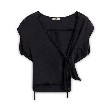 Silence and Noise Wrap Top - Black