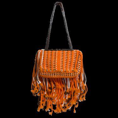 Emilio Pucci Orange Fringed Leather-Trimmed Macrame Shoulder Bag