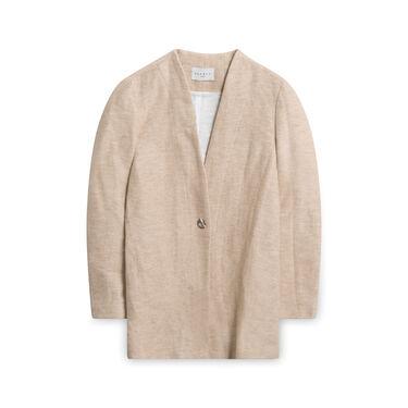 Sandro Margit Cotton and Linen-Blend Coat - Tan