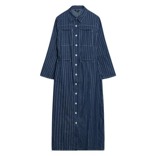 Pomelo Pinstriped Striped Maxi Dress