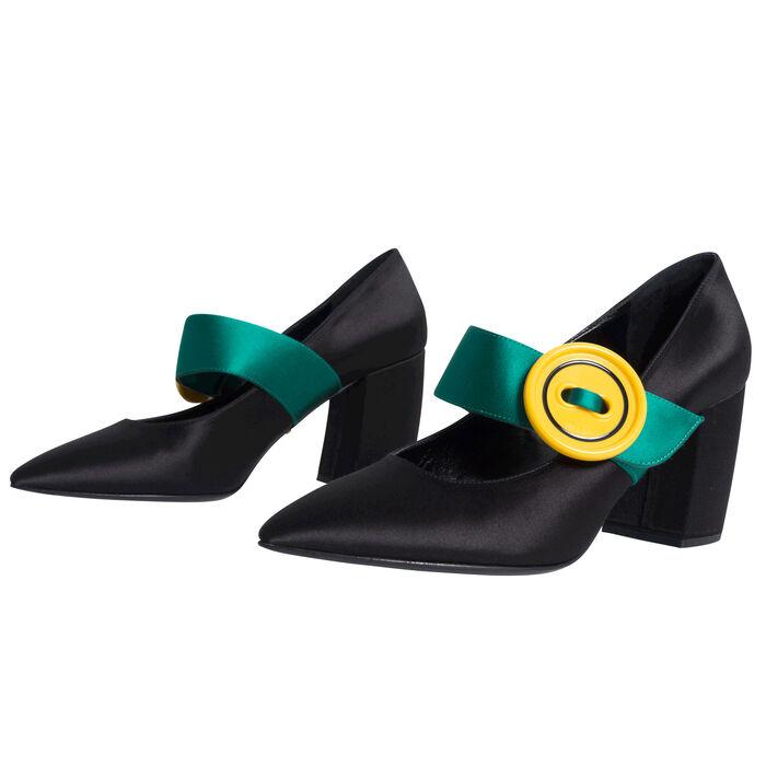 Prada Milano Yellow and Green Buckle Pumps - Black