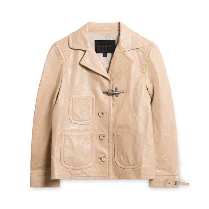Coach Patent Leather Fireman Jacket - Sand