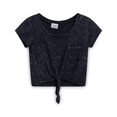 Vintage LA Hearts Tie Crop T-Shirt - Dark Grey