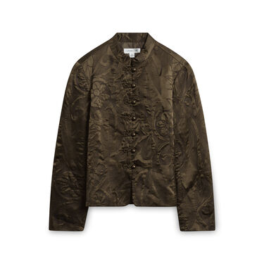 Coldwater Creek Silk Button Up Jacket - Olive Green