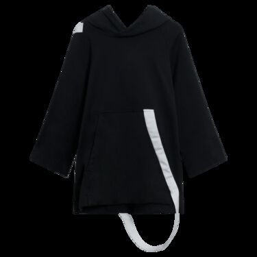 Y-3 adidas x Yohji Yamamoto Black Hoodie with Wrap Around Strap