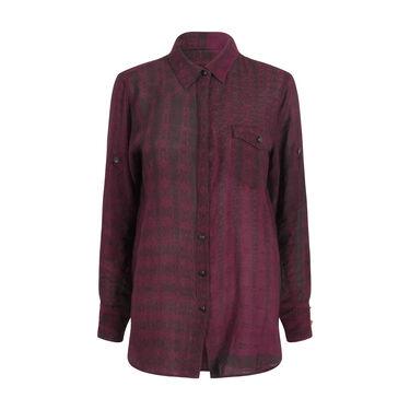 Rag & Bone Mixed Print Button-Down Shirt- Black/Maroon