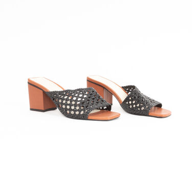 Intentionally Blank Roll Woven Strap Heeled Sandals