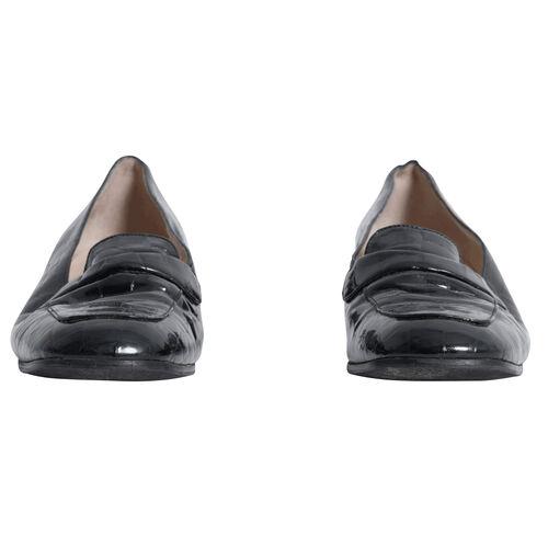 Vintage Oscar Novo Patent Leather Penny Loafers - Black