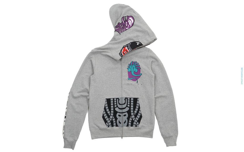 Alienface Alien Camo Sleeve Full Zip Hoodie grey