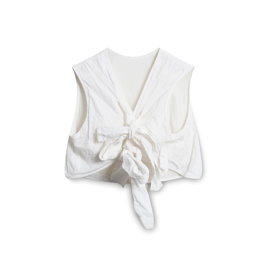 Cecilie Bahnsen Crop Tie Top - White