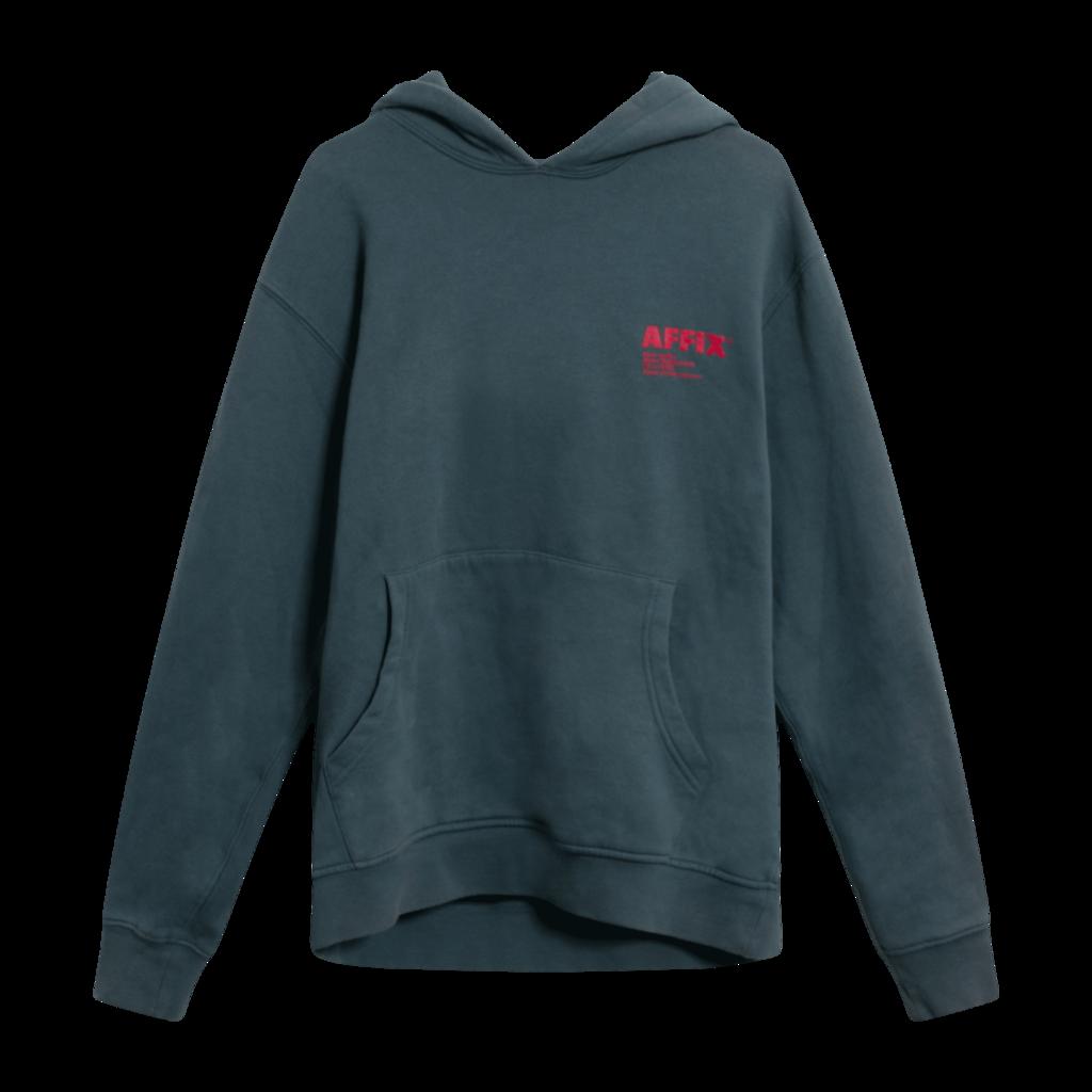 Affix Works Logo Print Hoodie in Dark Grey