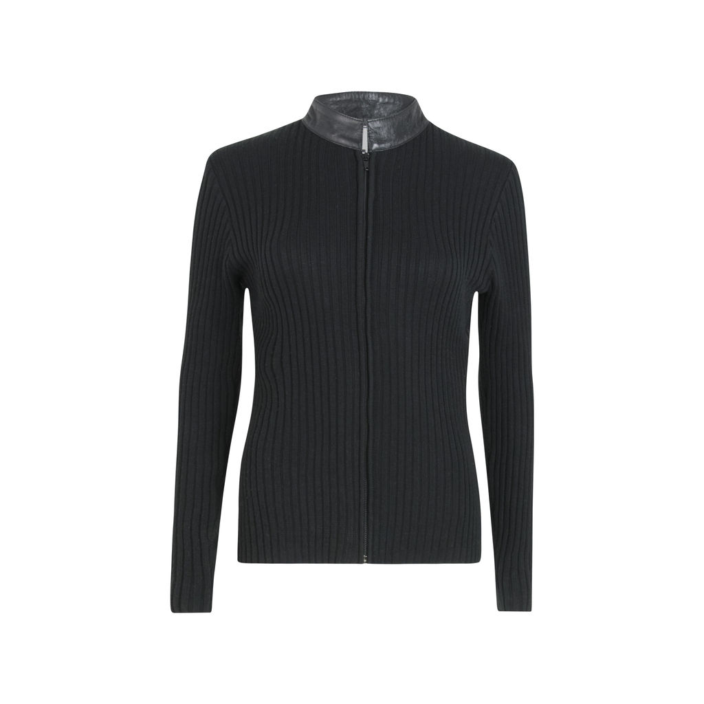 Clio Leather Ribbed Knit Zip-Up Jacket