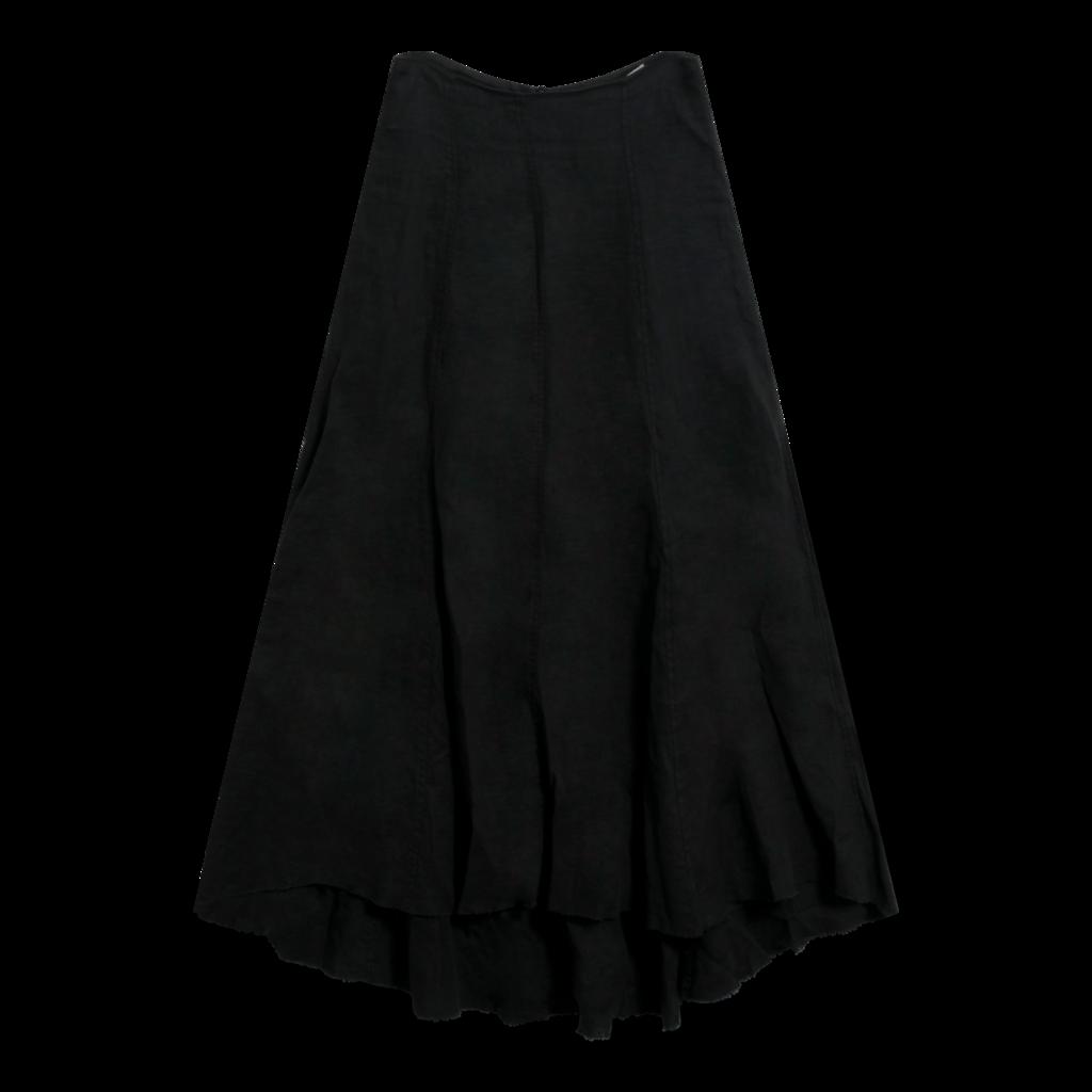 Ivan Grundahl Black Linen Asymmetric Midi Skirt