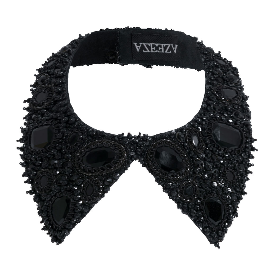 Azeeza Monotone Noir Embellished Shirt Collar