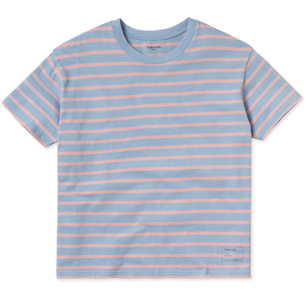 Entireworld Heavy Jersey Striped Boxy Tee - Light Blue/Pink