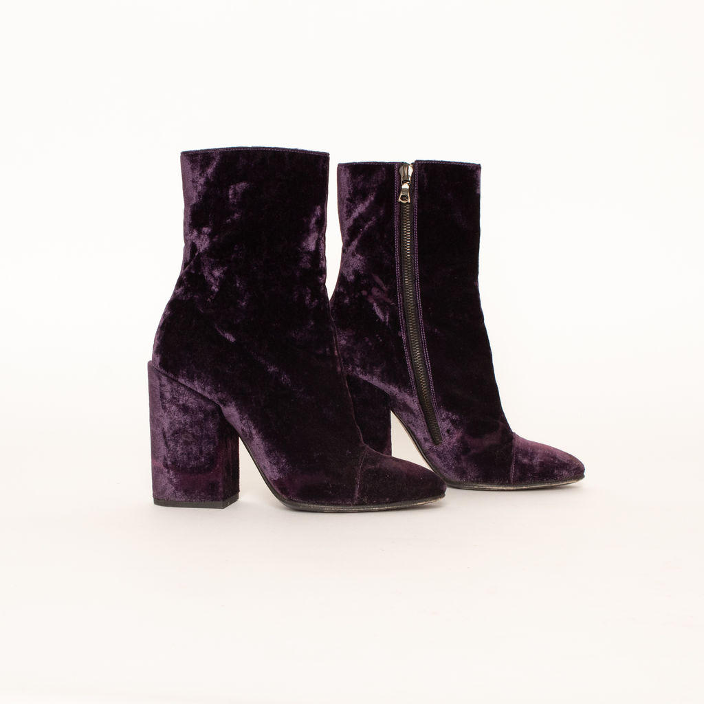 Dries Van Noten Crushed Velvet Heeled Boots