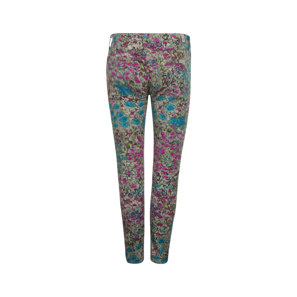 7 For All Mankind Floral Stretch Skinny Jeans- Blue/Pink