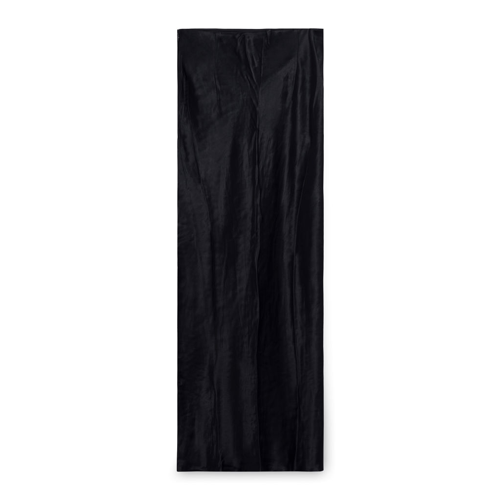 Vintage Anna October Satin Strapless Dress with Pearl Button Pockets - Black