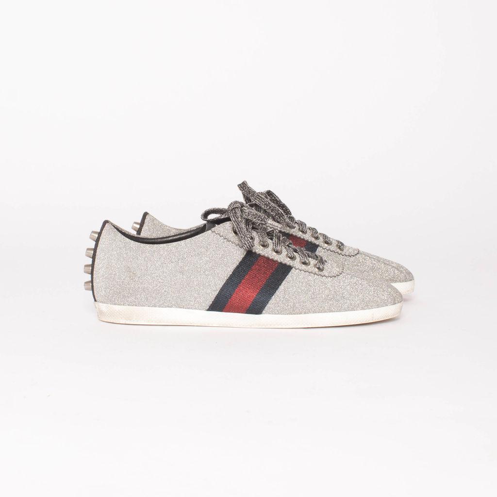 Gucci Silver Glitter Web Bambi Sneakers