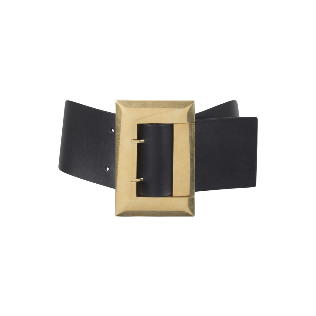 Céline Black Wide Leather Belt