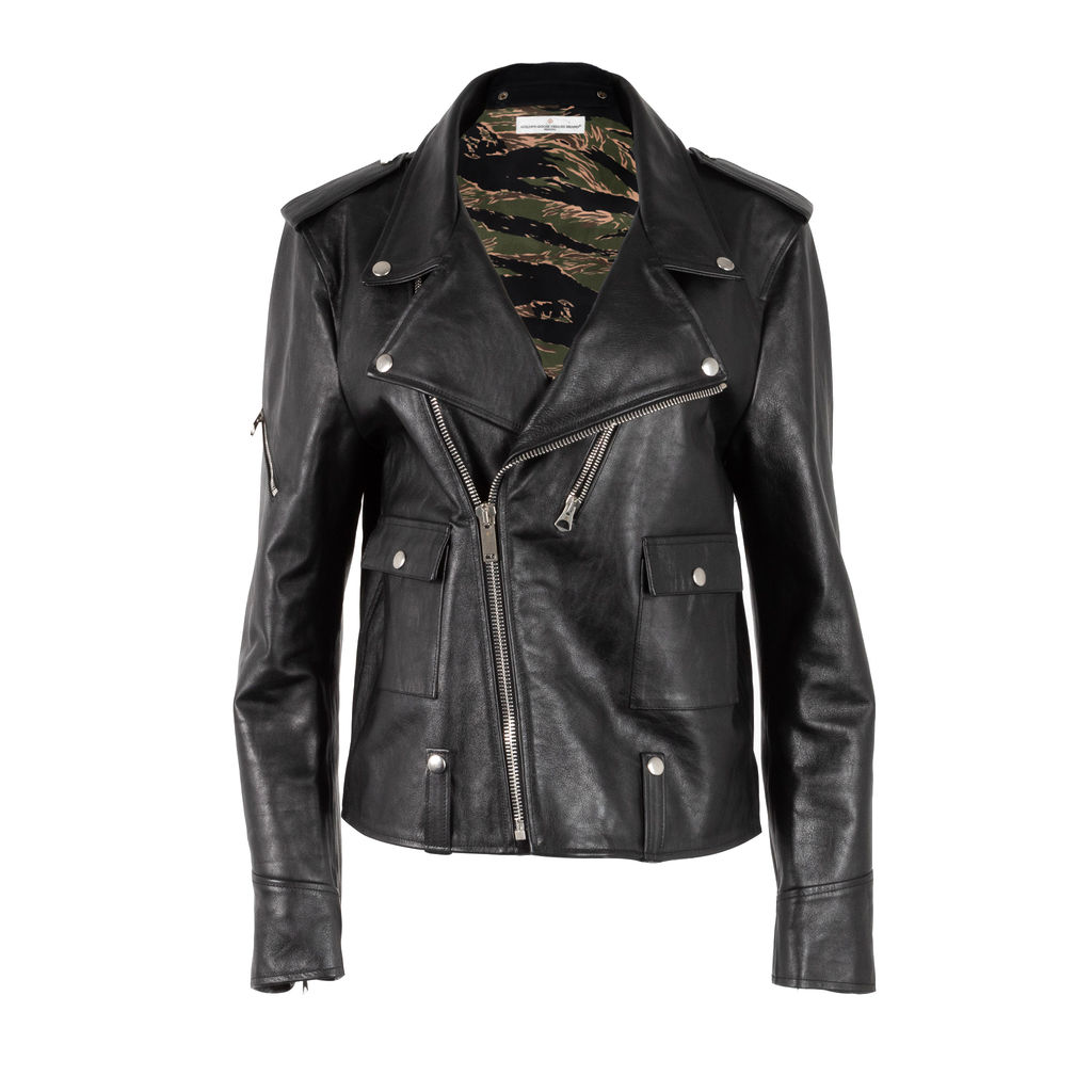 Golden Goose Camo Lined Leather Jacket