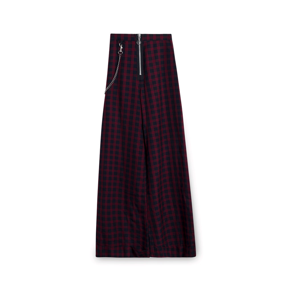 The Ragged Priest Lennox Checked Wide Leg Trousers with Chain
