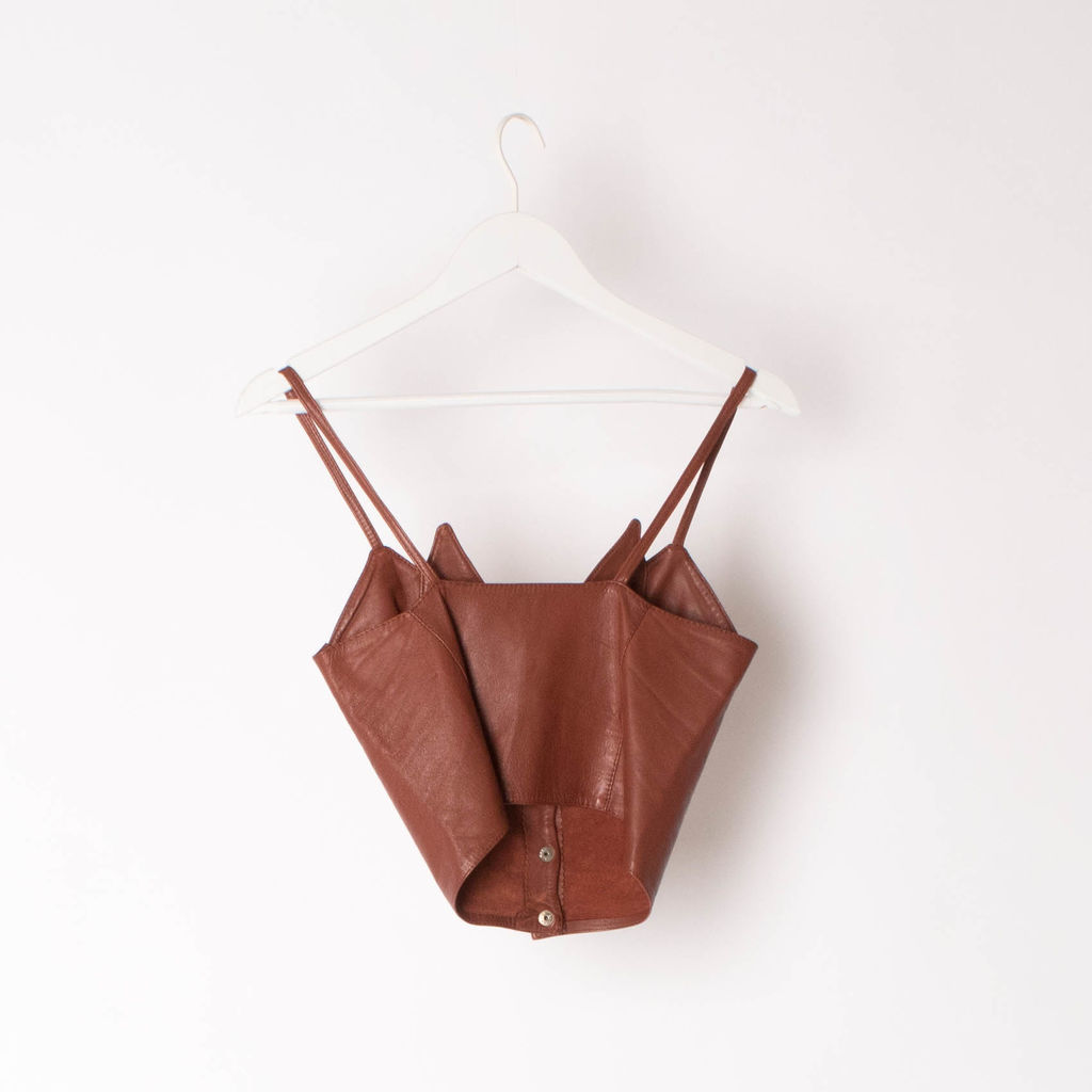 1980s Vintage Leather Bustier Top curated by Sophia Amoruso
