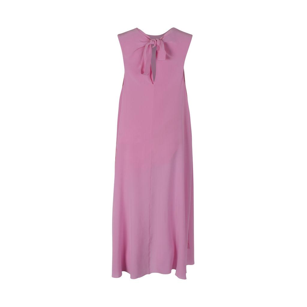 ROCHAS Overgross Sleeveless Silk Crepe De Chine Midi Dress