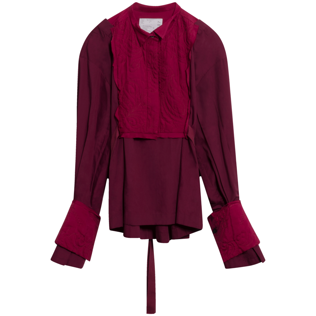 Sacai Bib Paneled Blouse in Port