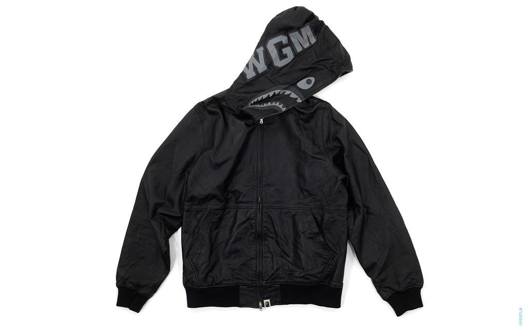 1st Sheepskin Leather Shark Full Zip Jacket black