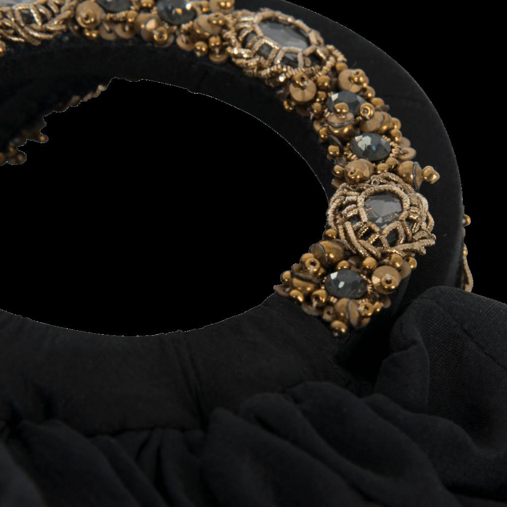 Azeeza Circle Raw Silk Antique Gold And Grey Embellished Bag