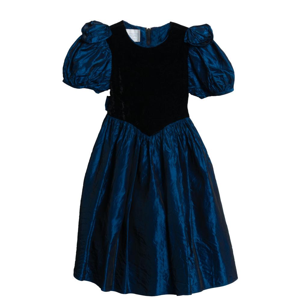 Jessica McClintock Iridescent Blue and Black Formal Mini Dress - Black Velvet