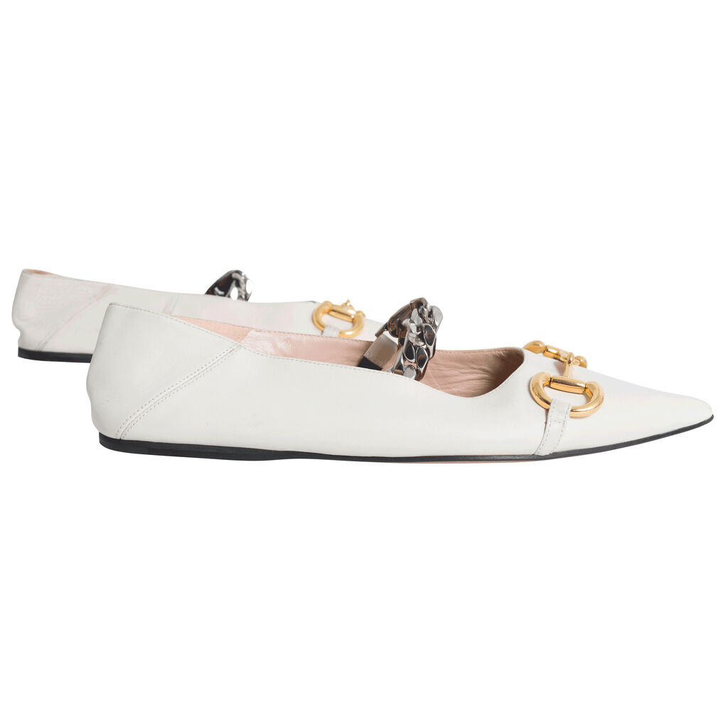 GUCCI Deva Horsebit & Chain Convertible Pointed Toe Ballet Flat