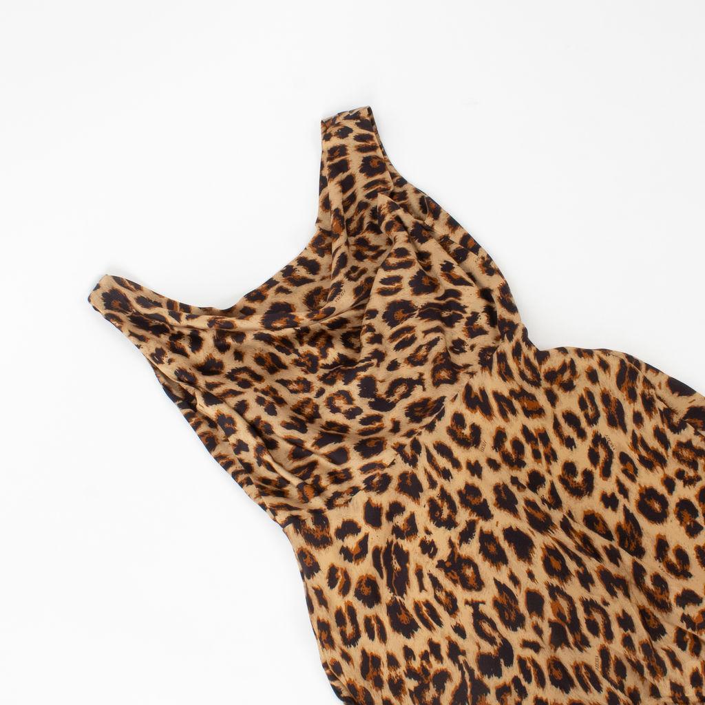Azeeza Saunder Leopard Silk Midi Dress