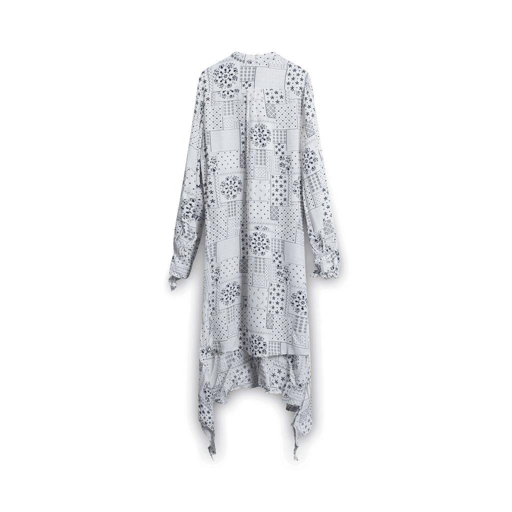 Malene Birger Joi Tiered Printed Midi Dress - White/Black