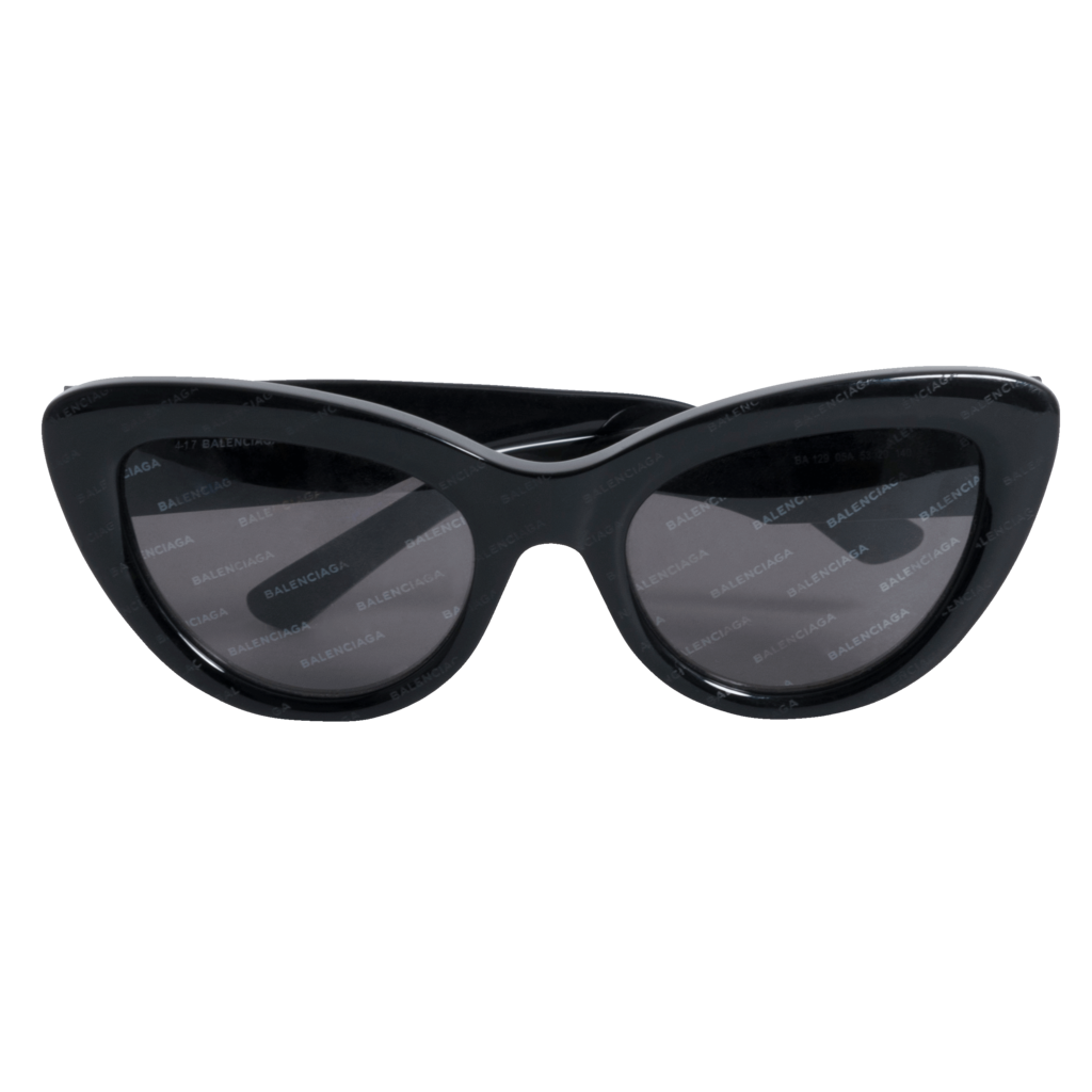 Balenciaga Cat Eye Black Acetate Logo Sunglasses