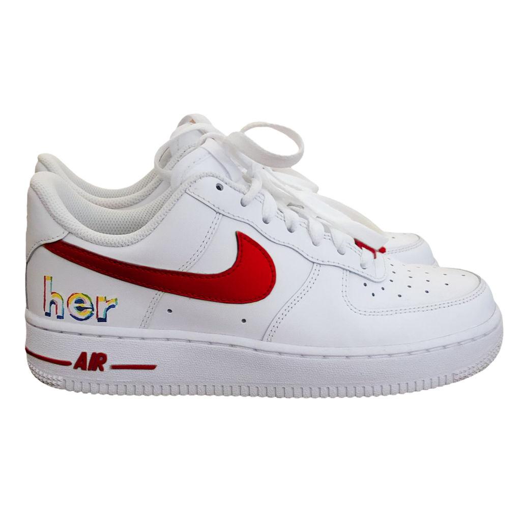 Custom AF1 Shoes - Red