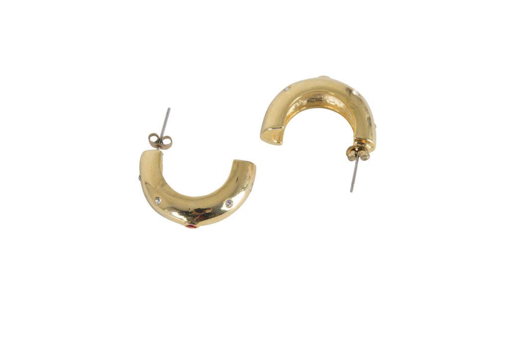 Rhinstone Embedded Half Gold Hoop