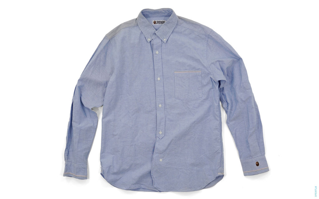 Apehead Border Accent Chambray Button-Up Shirt light_blue