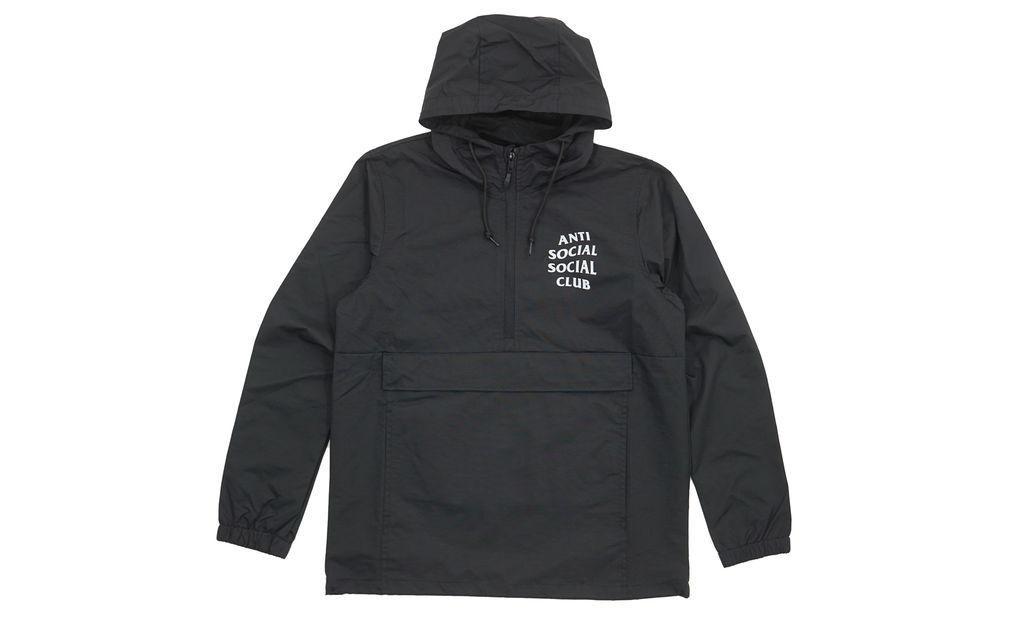 ASSC Mak Black Full Logo Anorak Pullover Hooded Jacket